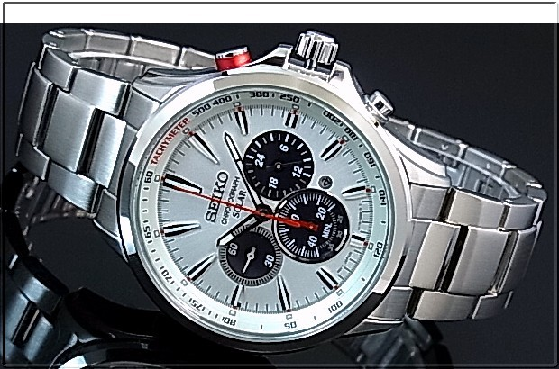 deb808620 BRIGHT: SEIKO/Chronograph Men's solar watch Stainless steel band ...