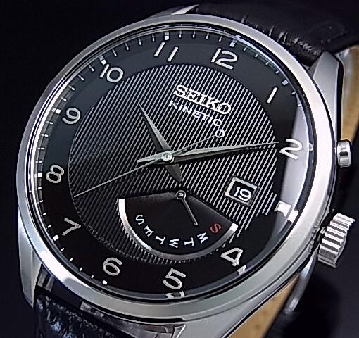SEIKO/KINETIC【セイコー/キネテック】メンズ腕時計 レトログラード ブラックレザーベルト ブラック文字盤 海外モデル【並行輸入品】 SRN051P1