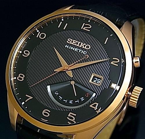 SEIKO/KINETIC【セイコー/キネテック】メンズ腕時計 レトログラード ブラックレザーベルト ブラック/ピンクゴールド文字盤 海外モデル【並行輸入品】 SRN054P1