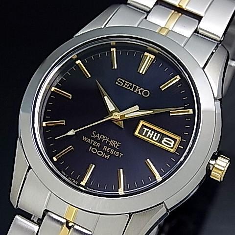 SEIKO/Quartz【セイコー/クォーツ】メンズ腕時計 コンビメタルベルト ダークネイビー文字盤 SGGA61P1 海外モデル【並行輸入品】