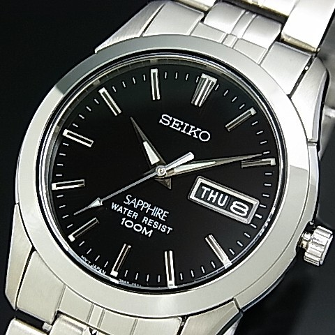 Seiko Quartz Men S Watch Stainless Steel Band Black Dial Sgg715p1 Reverse Import Model