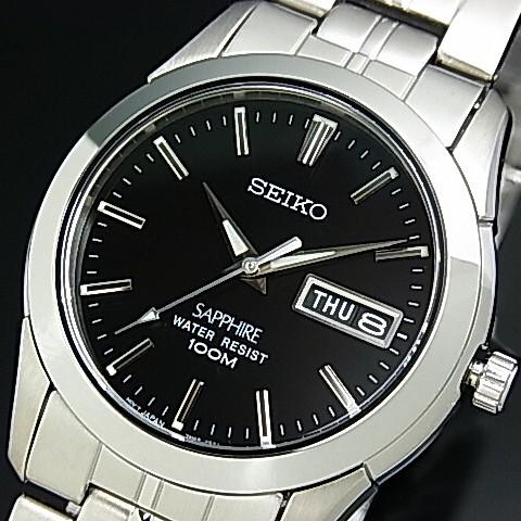 SEIKO/Quartz【セイコー/クォーツ】メンズ腕時計 メタルベルト ブラック文字盤 SGG715P1 海外モデル【並行輸入品】