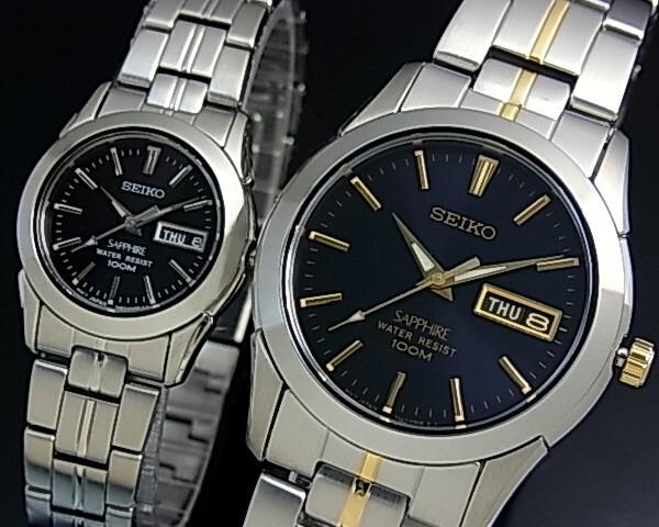 SEIKO/Quartz【セイコー/クォーツ】ペアウォッチ 腕時計 メタルベルト ダークネイビー/ブラック 文字盤 SGGA61P1/SXA099P1 海外モデル【並行輸入品】