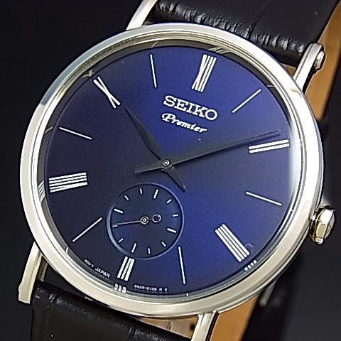 SEIKO/Premier【セイコー/プルミエ】メンズ腕時計 ブラックレザーベルト ネイビー文字盤 海外モデル【並行輸入品】 SRK037P1
