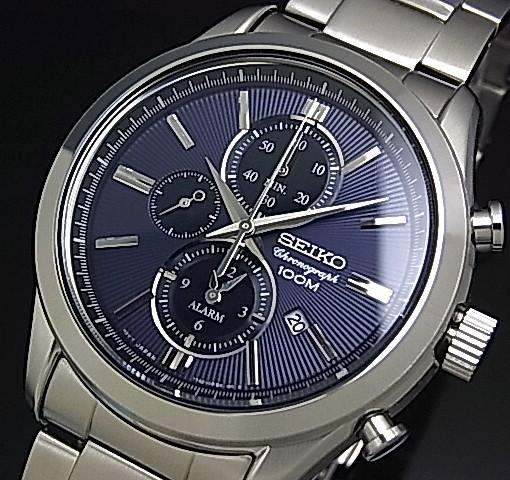 SEIKO/Alarm Chronograph【セイコー/アラームクロノグラフ】メンズ腕時計 ネイビー文字盤 メタルベルト SNAF65P1 海外モデル【並行輸入品】