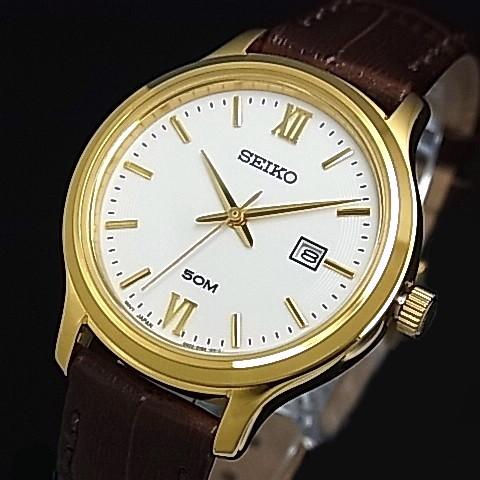 check out 045e0 c0a2b SEIKO/Quartz Lady's watch gold case brown Leather strap white Dial reverse  import model SUR702P1