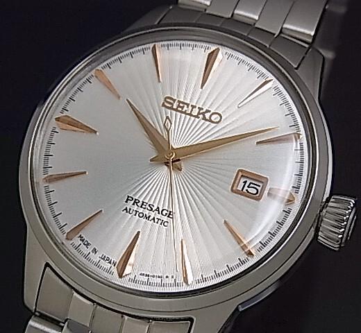 SEIKO/Presage メカニカル【セイコー/プレサージュ】自動巻 メンズ腕時計 シルバー/ピンクゴールド文字盤 メタルベルト Made in Japan 海外モデル【並行輸入品】 SRPB47J1