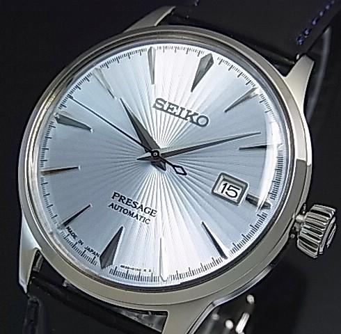 SEIKO/Presage メカニカル【セイコー/プレサージュ】自動巻 メンズ腕時計 ライトブルー文字盤 ブラックレザーベルト Made in Japan 海外モデル【並行輸入品】SRPB43J1