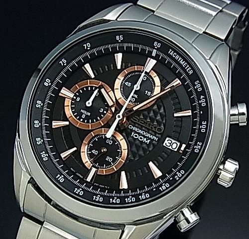 SEIKO/Chronograph【セイコー/クロノグラフ】メンズ腕時計 メタルベルト ブラック/ピンクゴールド文字盤 SSB199P1 海外モデル【並行輸入品】