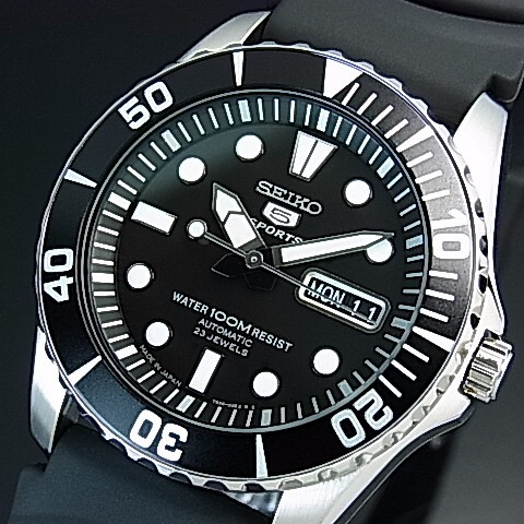Seiko Seiko5 Sports Automatic Men S Watch Black Rubber Strap Black Dial Made In Japan Reverse Import Model Snzf17j2