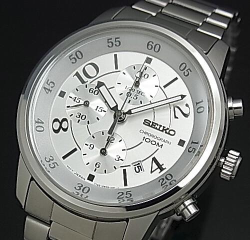 SEIKO/Chronograph【セイコー/クロノグラフ】ボーイズ 腕時計 メタルベルト シルバー文字盤 SNDW87P1 海外モデル【並行輸入品】