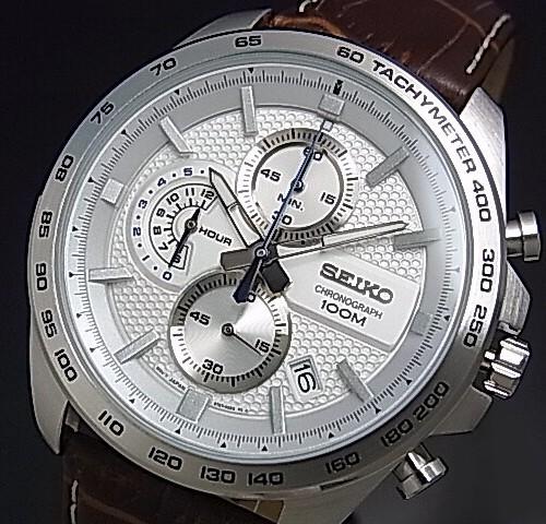 SEIKO/Chronograph【セイコー/クロノグラフ】メンズ腕時計 ブラウンレザーベルト シルバー文字盤 海外モデル【並行輸入品】 SSB263P1
