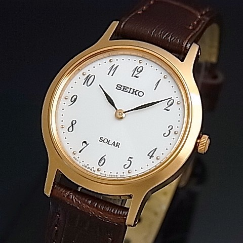 SEIKO/ソーラー時計【セイコー】レディース腕時計 ピンクゴールドケース ブラウンレザーベルト ホワイト文字盤 海外モデル【並行輸入品】 SUP372P1