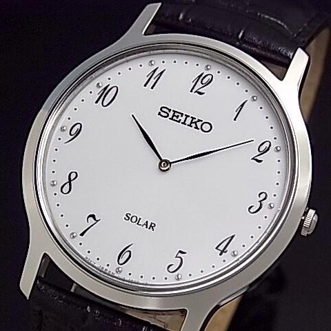 SEIKO/ソーラー時計【セイコー】メンズ腕時計 ブラックレザーベルト ホワイト文字盤 海外モデル【並行輸入品】 SUP863P1