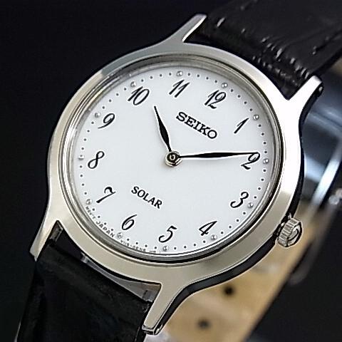 SEIKO/ソーラー時計【セイコー】レディース腕時計 ブラックレザーベルト ホワイト文字盤 海外モデル【並行輸入品】 SUP369P1