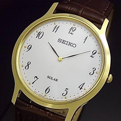 SEIKO/ソーラー時計【セイコー】メンズ腕時計 ゴールドケース ブラウンレザーベルト ホワイト文字盤 海外モデル【並行輸入品】 SUP860P1