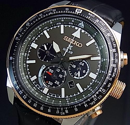 SEIKO/PROSPEX【セイコー/プロスペックス】メンズ クロノグラフ パイロット ソーラー腕時計 ブラックレザーベルト ブラック文字盤 海外モデル【並行輸入品】 SSC611P1
