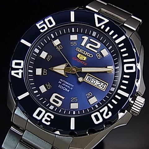 SEIKO/SEIKO5 Sports【セイコー5スポーツ/ファイブスポーツ】自動巻 メンズ腕時計 メタルベルト ネイビー文字盤 海外モデル【並行輸入品】SRPB37K1