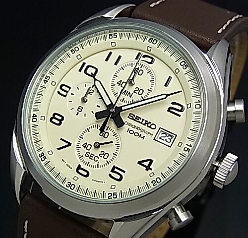 SEIKO/Chronograph【セイコー/クロノグラフ】メンズ腕時計 ブラウンレザーベルト アイボリー文字盤 海外モデル【並行輸入品】SSB273P1