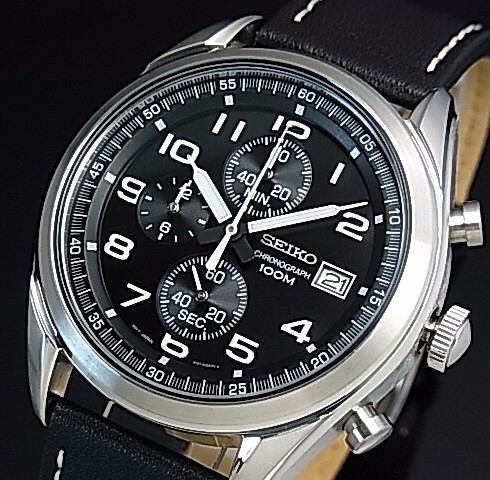 Seiko Chronograph Men S Watch Black Leather Strap Black Dial Reverse Import Model Ssb271p1