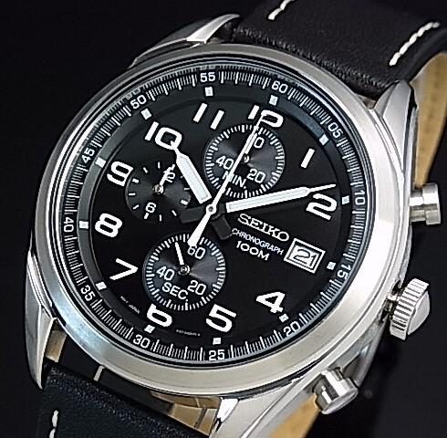 SEIKO/Chronograph【セイコー/クロノグラフ】メンズ腕時計 ブラックレザーベルト ブラック文字盤 海外モデル【並行輸入品】SSB271P1