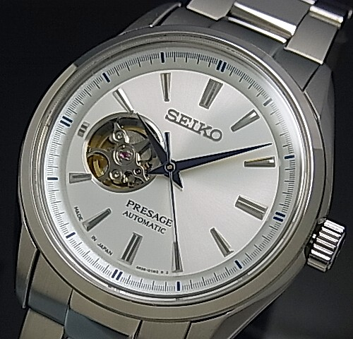 SEIKO/Presage メカニカル【セイコー/プレサージュ】スケルトン 自動巻 メンズ腕時計 シルバー文字盤 メタルベルト Made in Japan 海外モデル【並行輸入品】SSA355J1