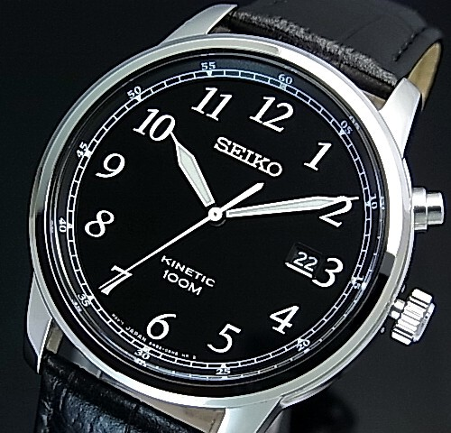 Seiko Kinetic Men S Watch Black Leather Strap Black Dial Reverse Import Model Ska781p1