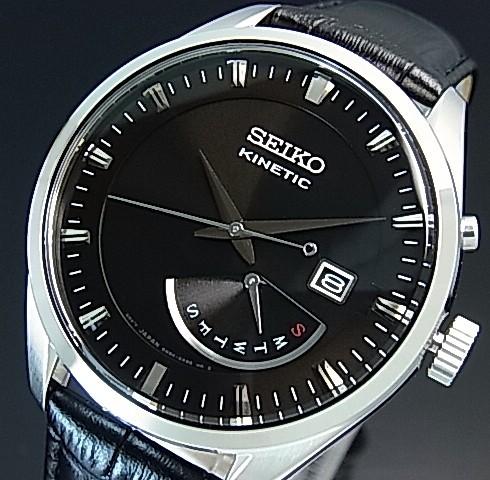 SEIKO/KINETIC【セイコー/キネテック】メンズ腕時計 レトログラード ブラックレザーベルト ブラック文字盤 海外モデル【並行輸入品】SRN045P2