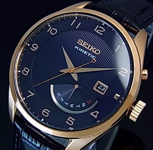 SEIKO/KINETIC Men's watch retrograde navy Leather strap navy / pink gold  Dial reverse import model SRN062P1