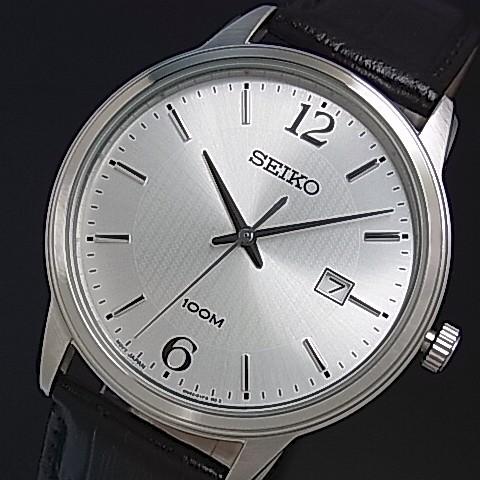 SEIKO/Quartz【セイコー/クォーツ】メンズ腕時計 ブラックレザーベルト シルバー文字盤 海外モデル【並行輸入品】SUR265P1