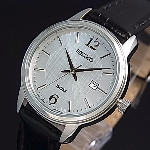 SEIKO/Quartz【セイコー/クォーツ】レディース腕時計 ブラックレザーベルト シルバー文字盤 海外モデル【並行輸入品】 SUR659P1