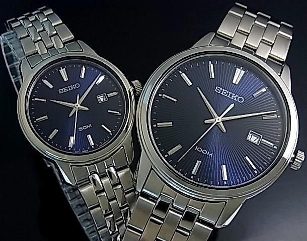 SEIKO/Quartz【セイコー/クォーツ】ペアウォッチ 腕時計 メタルベルト ネイビー文字盤 海外モデル【並行輸入品】SUR259P1/SUR665P1