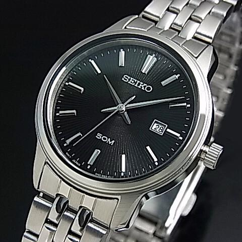 SEIKO/Quartz【セイコー/クォーツ】レディース腕時計 メタルベルト ブラック文字盤 海外モデル【並行輸入品】SUR663P1