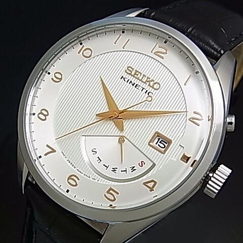 SEIKO/KINETIC【セイコー/キネテック】メンズ腕時計 レトログラード ブラックレザーベルト シルバー文字盤 海外モデル【並行輸入品】 SRN049P1