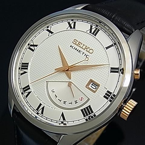 SEIKO/KINETIC【セイコー/キネテック】メンズ腕時計 レトログラード ブラックレザーベルト シルバー文字盤 海外モデル【並行輸入品】 SRN073P1