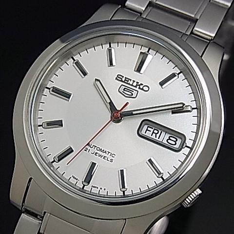 SEIKO/SEIKO5【セイコー5/セイコーファイブ】自動巻 メンズ腕時計 メタルベルト シルバー文字盤 海外モデル【並行輸入品】SNK789K1