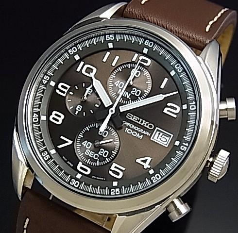 SEIKO/Chronograph【セイコー/クロノグラフ】メンズ腕時計 ブラウンレザーベルト ダークブラウン文字盤 海外モデル【並行輸入品】SSB275P1