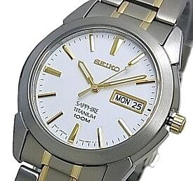SEIKO/Quartz【セイコー/クォーツ】軽量チタンモデル メンズ腕時計 コンビメタルベルト ホワイト/ゴールド文字盤 SGG733P1 海外モデル【並行輸入品】