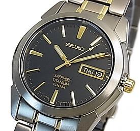 SEIKO/Quartz【セイコー/クォーツ】軽量チタンモデル メンズ腕時計 コンビメタルベルト ブラック/ゴールド文字盤 SGG735P1 海外モデル【並行輸入品】