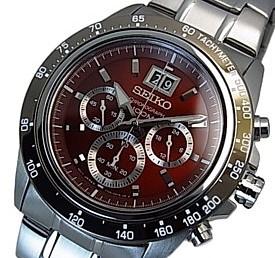 SEIKO/LORD【セイコー/ロード】クロノグラフ メンズ腕時計 メタルベルト ワインレッド文字盤 海外モデル【並行輸入品】SPC243P1