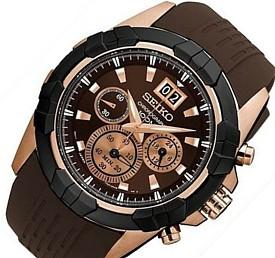 SEIKO/LORD【セイコー/ロード】クロノグラフ メンズ腕時計 ピンクゴールドケース ブラウンラバーベルト ブラウン/ピンクゴールド文字盤 SPC194P1 海外モデル【並行輸入品】