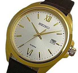 SEIKO/Quartz【セイコー/クォーツ】メンズ腕時計 ゴールドケース ブラウンレザーベルト シルバー文字盤 海外モデル【並行輸入品】 SUR284P1