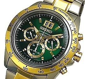 SEIKO/LORD【セイコー/ロード】クロノグラフ メンズ腕時計 コンビメタルベルト グリーン/ゴールド文字盤 海外モデル【並行輸入品】SPC230P1