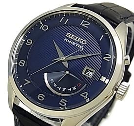 SEIKO/KINETIC【セイコー/キネテック】メンズ腕時計 レトログラード ネイビーレザーベルト ネイビー文字盤 海外モデル【並行輸入品】 SRN061P1