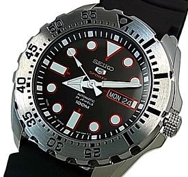 SEIKO/SEIKO5 Sports【セイコー5スポーツ/ファイブスポーツ】自動巻 メンズ腕時計 ブラックラバーベルト ブラック文字盤 SRP601J1 MADE IN JAPAN 海外モデル【並行輸入品】