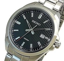 SEIKO/Quartz【セイコー/クォーツ】メンズ腕時計 メタルベルト ブラック文字盤 海外モデル【並行輸入品】 SUR277P1