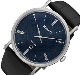 SEIKO/Premier【セイコー/プルミエ】メンズ腕時計 ブラックレザーベルト ネイビー文字盤 海外モデル【並行輸入品】SKP397P1