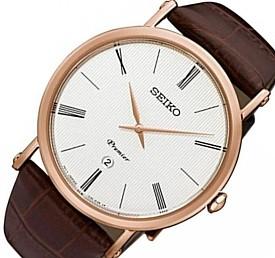 SEIKO/Premier【セイコー/プルミエ】メンズ腕時計 ゴールドケース ブラウンレザーベルト ホワイト文字盤 海外モデル【並行輸入品】 SKP398P1