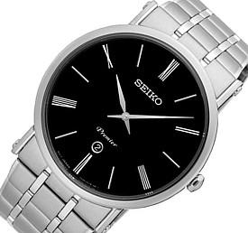 SEIKO/Premier【セイコー/プルミエ】メンズ腕時計 メタルベルト ブラック文字盤 海外モデル【並行輸入品】SKP393P1