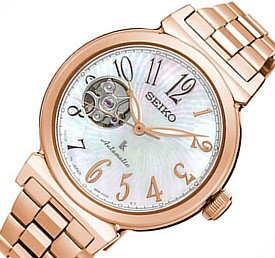 SEIKO/LUKIA【セイコー/ルキア】レディース腕時計 自動巻 シェル文字盤 ピンクゴールドメタルベルト SSA836J1 海外モデル【並行輸入品】